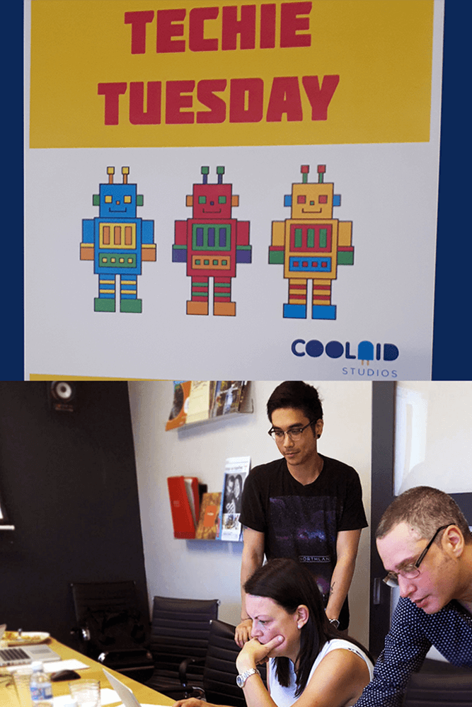 Coolaid techie Tuesdays poster and group picture